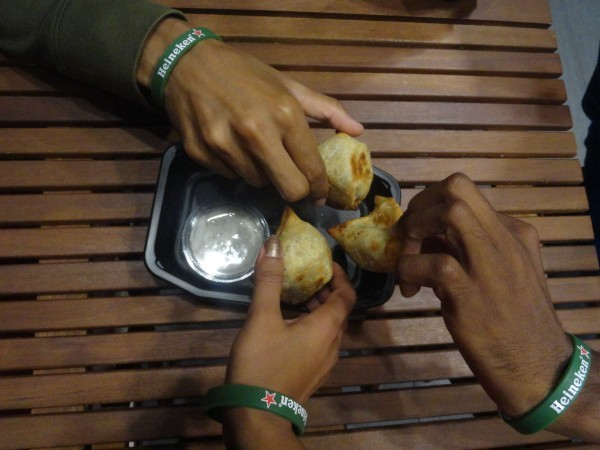 Samosas from an Indian takeaway restaurant