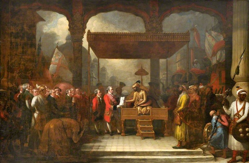Shah_Alam_II_Mughal_Emperor_Conveying_the_Grant_of_the_Diwani_to_Lord_Clive_August_1765